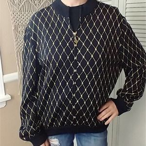 St. John Collection black/gold partial zip sweater
